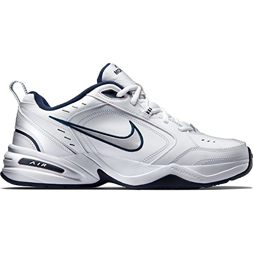 Mens Nike Air Monarch IV Training Shoe White/Metallic Silver/Midnight Navy Size 10