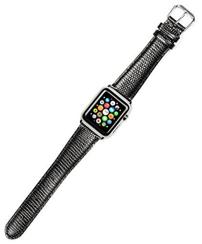 - Debeer Replacement Watch Band - Lizard Grain - Black - Fits 38mm Apple Watch [Black Adapters]