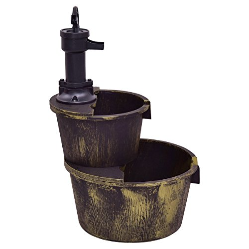 Giantex 2-Tier Barrel Water Fountain Rustic Wood Barrel Water Fountain w/Pump Outdoor Garden Decorative, 27 Inch Tall by Giantex (Image #2)