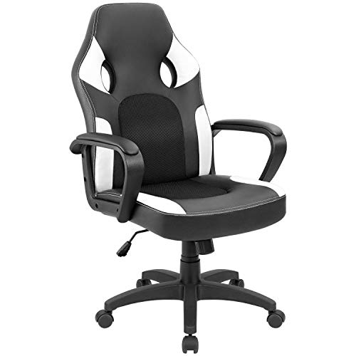 Furmax Office Chair Leather Desk Gaming Chair, High Back Ergonomic Adjustable Racing Chair,Task Swivel Executive Computer Chair Headrest and Lumbar Support New White