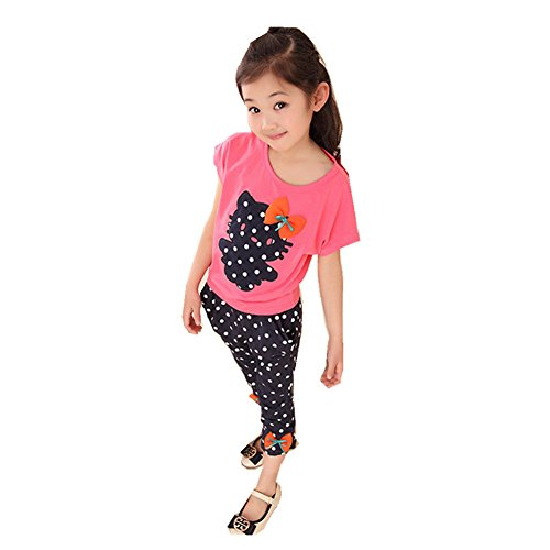 FTSUCQ Girls Cartoon Polka Dot Shirt and Harem Leggings Pants, Two-piece Sets,Red 100 (Cute 11 Year Old Guys)