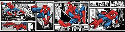 York Wallcoverings Disney Kids III Marvel Ultimate Spiderman Comic Border, Black