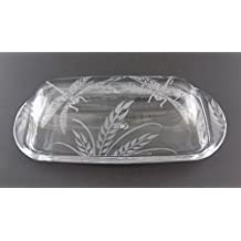 IncisoArt Hand Etched Permanently Sandblasted (Sand Carved) Butter Dish Serving Tray Handmade USA (Dragonfly Grass)