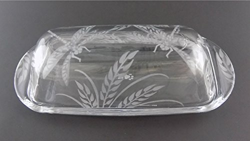 Dragonfly Tray - IncisoArt Hand Etched Permanently Sandblasted (Sand Carved) Butter Dish Serving Tray Handmade USA (Dragonfly Grass)