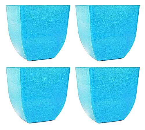 """Set of 4 Tapered Square 5"""" x 5"""" Assorted Colors Biodegradable Bamboo Fiber Planters (Light Blue)"""