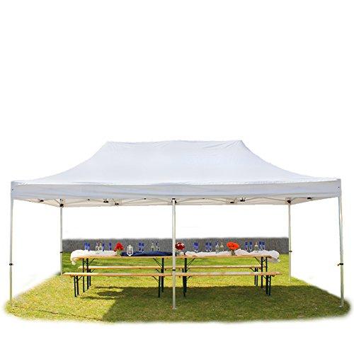 Faltpavillon Faltzelt Pavillon Klappzelt 4x8 m - ca. 400g/m² Plane + ca. 50mm Aluminiumgestänge - Zelt Partyzelt Gartenzelt Sonnenschutz Markstand Popup, ohne Seitenteile, weiß