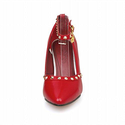 Latasa Mujeres Fashion Rivets Tobillera Correa Tacón Alto Vestido De Plataforma Bombas Zapatos Rojo
