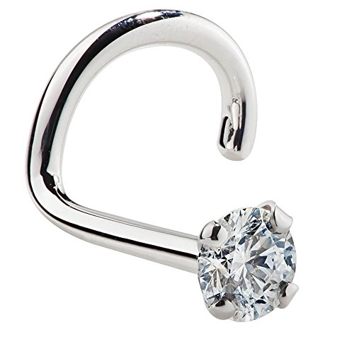 I1-1.5mm (0.015 ct. tw) Diamond 950 Platinum Nose Ring Twist Screw - 18G