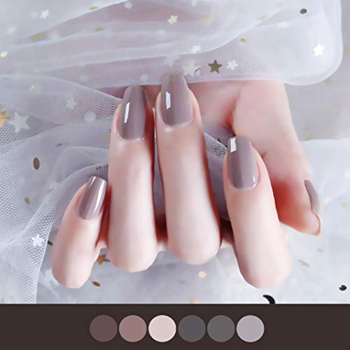 Color Lab 22PCS ADHESION Nail Art Design Classic Grey Solid Color Series DIY 100% Nail Polish Strips, Nail Wraps, Transfer Decals Sticker Applique for Manicure, Wedding, Party,A405 Mocha