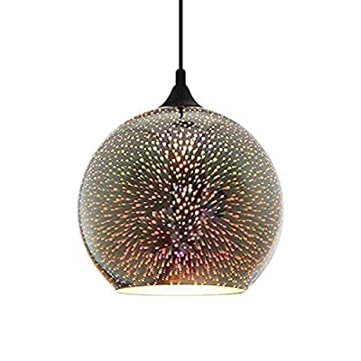 "Modern 3D Glass Ceiling Pendant Light - YIKEGE Minimalist Creative Hanging Lighting 5.91"" Wide Fixture Edison Light Chandelier for Kitchen Dining Room Barn Loft"