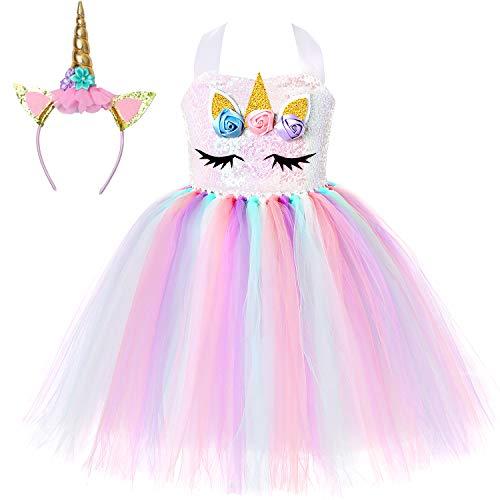 Soyoekbt Unicorn Tutu Dress for Girls Kids Birthday Party Unicorn Costume with Headband 5-6Years Sequin