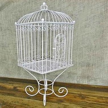 Wire Bird Cage Wedding Card Holder, Removable Stand & Cloche, White