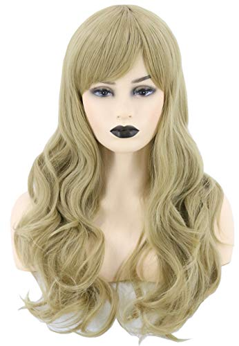 Topcosplay Womens Hair Wigs Long Wavy Cosplay Wig Halloween Costumes Wigs Ash Blonde