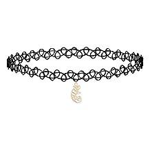 Qiandi Black Lace Lguana Chameleon Animal Choker Pendant Necklace Birthday Jewelry Gift Girls Women