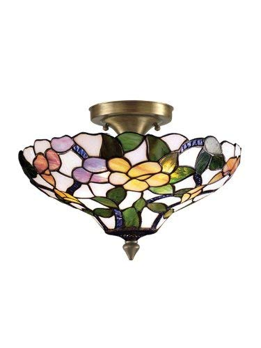 Dale Tiffany 7966/3LTF Peony Semi-Flush Mount Light, Antique Brass and Art Glass Shade ()