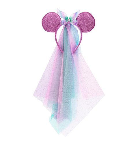 Disney Parks Sparkly Mickey Minnie Mouse Ears Headband Pastel Veil Fairy Wings