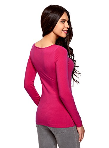 oodji Collection Mujer Camiseta de Manga Larga (Pack de 3) Rosa (4701N)