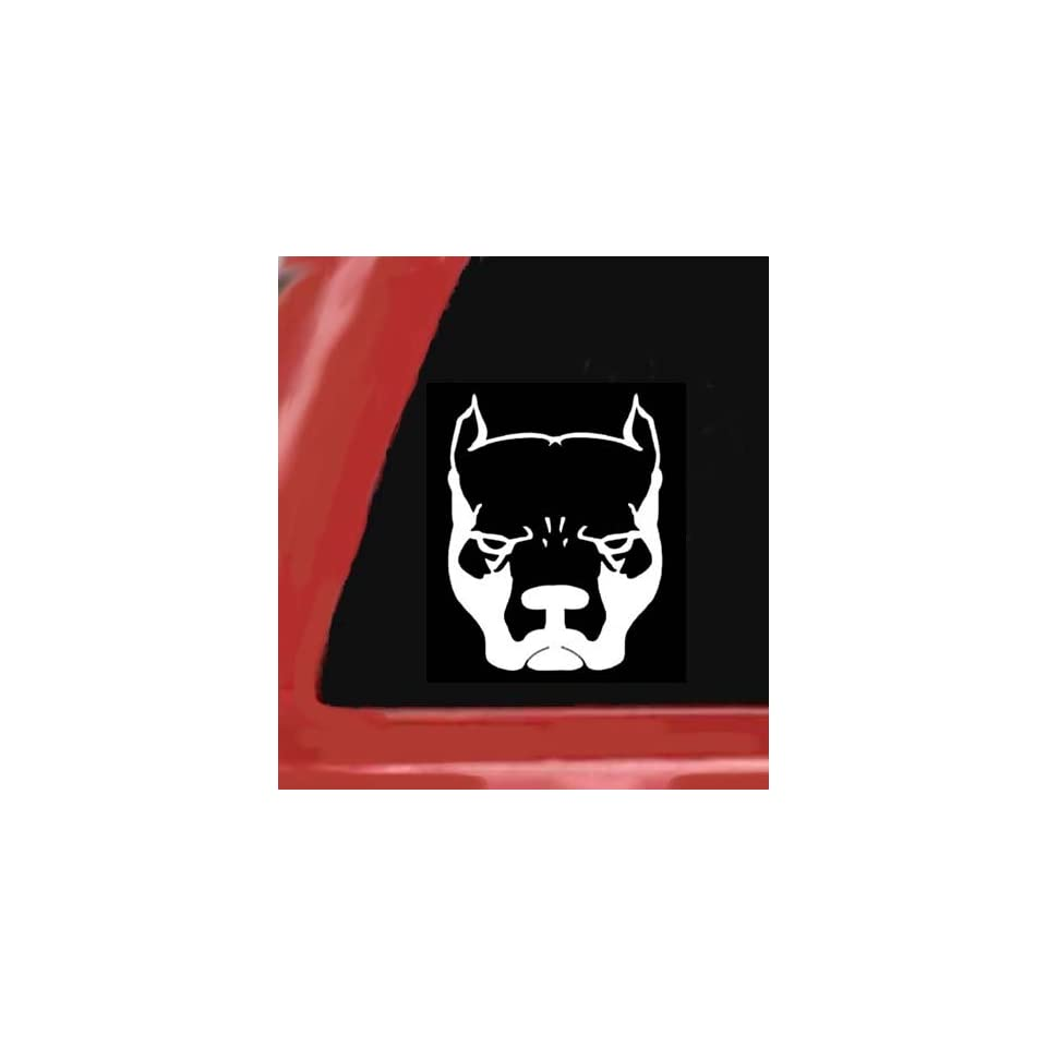 PIT BULL DOG White 5 Vinyl STICKER/DECAL for Cars,Trucks,Trailers,Notebooks,Etc.
