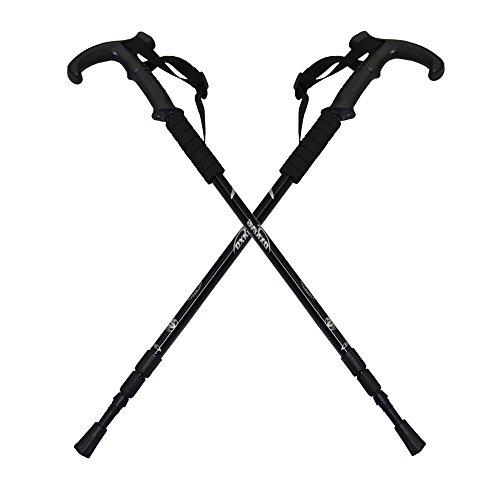 Amazon Lightning Deal 100% claimed: Oxking® Outdoor Sports 2 Pack Durable Antishock Retractable Hiking Walking Stick Adjustable Trekking Trail Poles Ultralight Aluminum Folding Telescopic Curved Handle Trekking Poles (Black)