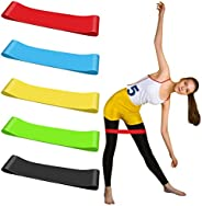 AMOLEY 5 Pcs Fitness Bands, Resistance Booty Bands Gymnastics Band Loop Bands Multi-color Stretch Muscle Band