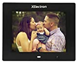 XElectron 8 inch Digital Photo Frame with Motion Sensor and Remote Control Plays Picture/Music/Video by USB SD/MMC, Clock & Calendar Function