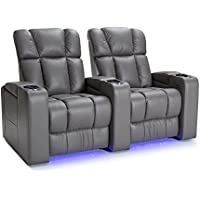 Palliser Collingwood Leather Home Theater Seating Power Recline - (Row of 2, Gray)