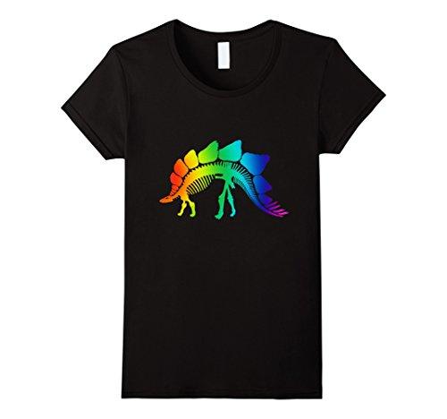 Womens Stegosaurus LGBT Skeleton.Funny T-shirt Halloween Gift Ideas Medium Black