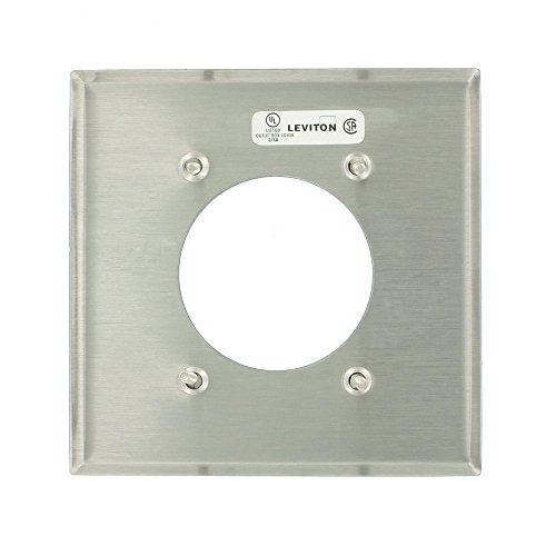 Leviton 84026 2-Gang Flush Mount 2.15-Inch Diameter, Device Receptacle Wallplate, Standard Size, Stainless ()