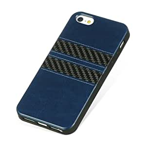 Loggerhead@ Navy Blue / Black Leather Finish Carbon Fiber Strip IMD Case Cover for Apple iPhone 5 5s, Retail Packaging