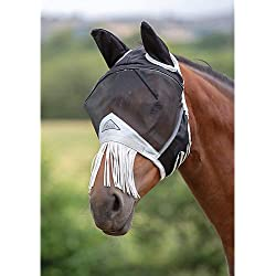 Shires Fine Mesh Fly Mask with Nose Fringe, Black, Full