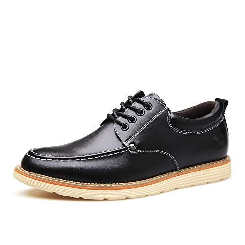 WFL Scarpe da uomo scarpe estive da uomo con la suola spessa scarpe casual scarpe stringate in pelle da uomo Nero