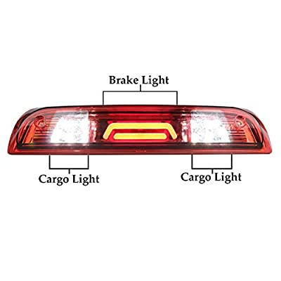 Third Brake Light LED 3rd Brake Light Rear Center High Mount Stop Light Tail Lamp Red Waterproof Lens Fit for GMC Sierra 1500 2500HD 3500HD / Chevy Silverado 1500 2500HD 3500HD: Automotive