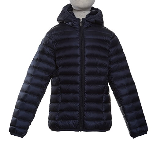 Mad Bomber Kids Lil Down Jacket with Attached Hoodie & Matching Drawstring Bag, X-Large, Navy