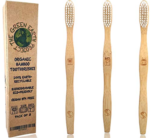 Organic Bamboo Toothbrushes Eco-Friendly - Biodegradable and Natural All Premium Vegan Wooden Toothbrush with Long Lasting Strong Medium Soft BPA-Free Pearl White Bristles for Sensitive Gums (3 Pack)