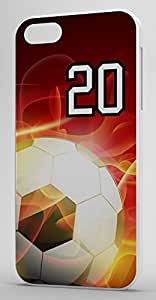Flaming Soccer Sports Fan Player Number 20 White Plastic Decorative iphone 4s Case