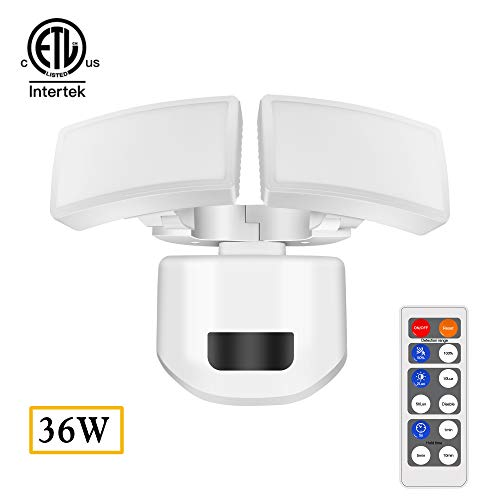 (FUDESY 36W Dual-Head LED White Motion Sensor Security Light with Remote Control, Microwave/Radar Detector Motion Sensor, Waterproof, Flood Light, 4000K Daylight)