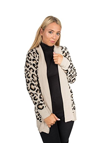 Leopard Print Ribbed Cardigan - New Womens Animal Leopard Print Knitted Cardigan Sizes S M L XL XXL