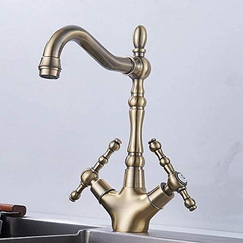 Dmqpp Klassische Antike Kitchen Sink Mischbatterien Georgian Twin Lever Bronze Traditioneller Wasserhahn wasserhhne küche
