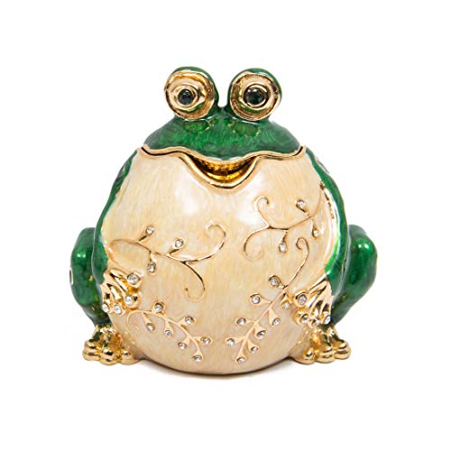 - QIFU-Hand Painted Enameled Frog Style Decorative Hinged Jewelry Trinket Box Unique Gift for Home Decor
