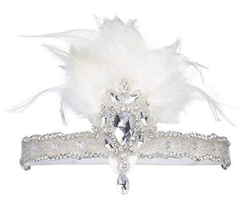 BABEYOND 1920s Flapper Headpiece 20s Carnival Feather Headband Crystal Beaded Great Gatsby Hairband 1920s Flapper Gatsby Hair Accessories (White)]()
