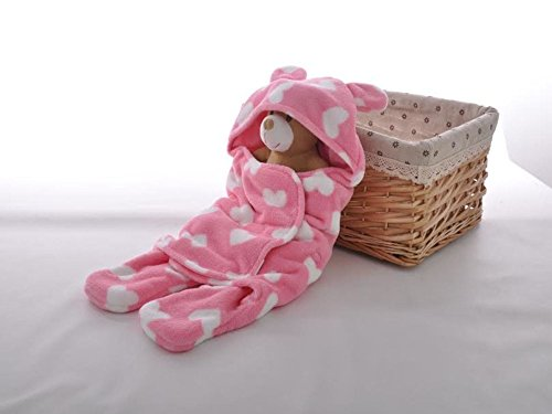Newborn Infant Baby Girl Blanket Jacket Robe Baby Shower Gift Basket Idea (pink)
