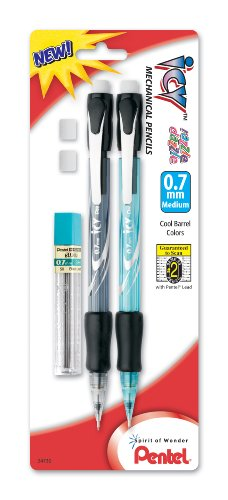 (Pentel ICY Razzle-Dazzle Mechanical Pencil with Lead and 2 Erasers, 0.7mm, Assorted Colors, Color May Vary (AL27RDLEBP2M))