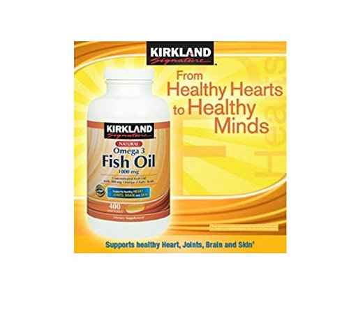 Kirkland Signature Natural Fish Oil Concentrate 1000 Mg with 300 Mg Omega-3 Fatty Acids - 400 Softgels - Pack of 3 for Total of (Signature Fish)