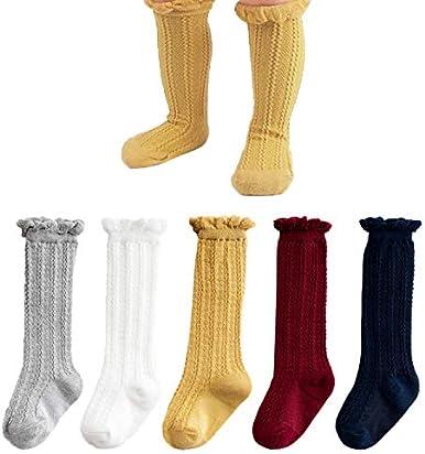 08955703c CozyWay Baby Girls Knee High Socks 5 Pack Tube Ruffled Stockings Infants  Toddlers