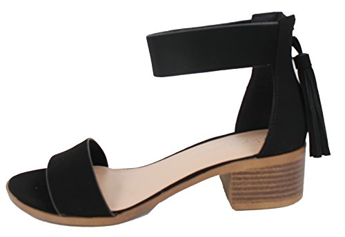 Black Low Tassel Ankle Strap Toe Sandal Womens Open Classified City Heel Block w0pPq6t