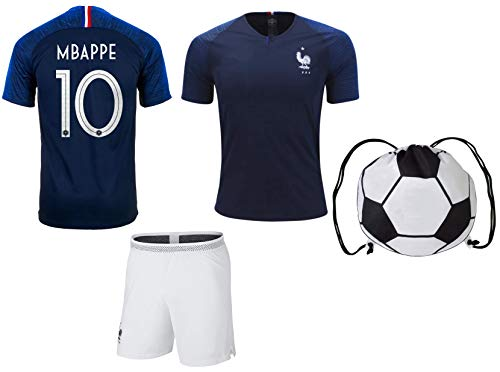 huge discount d7432 f003a Mbappe France #10 Youth Soccer Jersey Home Short Sleeve Kit Shorts Kids  Gift Set (YS (6-8 Years), Kit)