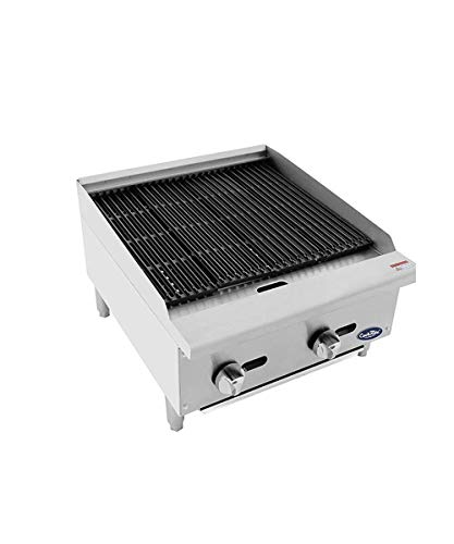 CookRite ATCB-24 Lava Rock Commercial Charbroiler Grill Smokeless BBQ Indoor Grill Char-Rock Broiler Natural Gas Stainless Steel- 70,000 BTU