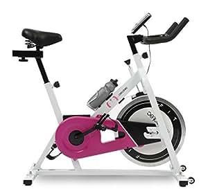Cecotec Bicicleta de Spinning Rose Pantalla LCD, Resistencia Variable. Amortiguador. Completamente Regulable. Ruedas Transporte. Portabidones con bidón.