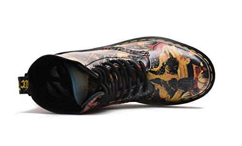 Lace Martin Fashion New Painting Printemps Hiver Nvxie Courtes Peinture Bottes Cuir Couple Chaussures Up Véritable usure Automne De Antidérapante Femmes Anti Dames Hommes eur44uk10 Flat q4z7Pv