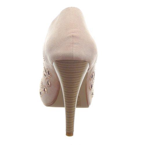 Kickly - Chaussure Mode Escarpin Sandale Stiletto cheville femmes strass diamant Talon aiguille haut talon 11 CM - Rose/Or